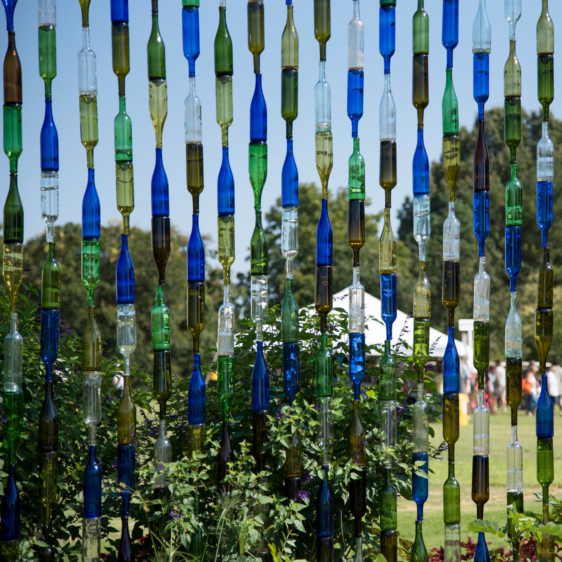Colored Glass Bottle Wall at the UT Gardens in Jackson